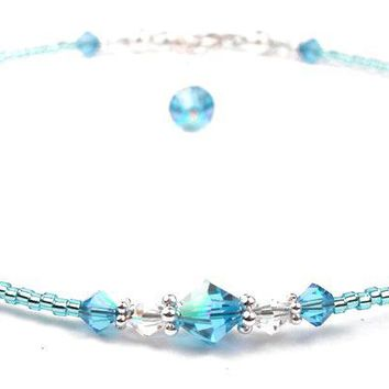 Handmade Beaded Anklets  | Birthstone Aquamarine March