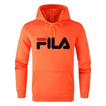 FILA Autumn Winter Women Men Long Sleeve Hoodie Sweater Pullover Top Sweatshirt Orange