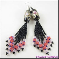 Lamp Work Fringe Seed Beaded Earrings Pink and Black Beadwork