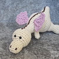 Baby dragon crochet baby rattle stuffed toy - organic cotton - ivory, mauve and brown amigurumi dragon baby gift