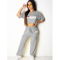 Fendi Summer New Fashion Letter Print Top And Pants Sports Leisure Two Piece Suit Women Gray