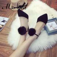 2016 spring autumn new fashion fur women pumps black thing high heel shoes office lady working shoes sexy girls party shoes
