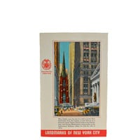 Vintage 1940s Postcard Linen - New York City Landmarks - Wall Street - Unused