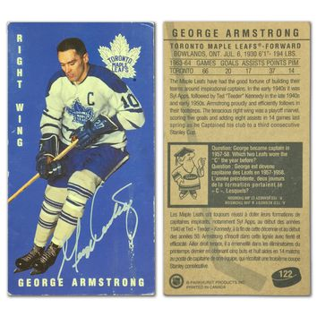 """AUTOGRAPHED GEORGE ARMSTRONG TALL BOY CARD, TORONTO MAPLE LEAFS - """"AS IS"""""""