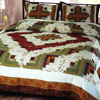 Log Cabin Quilt Luxury Super King Size Handmade Cotton Bedding