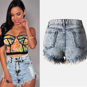 Women's ripped high Waisted Jeans Shorts a13572