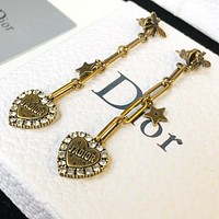 Dior Fashion Women Retro Diamond Heart Tassel Pendant Earrings Accessories Jewelry