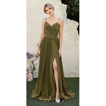 Pleated Metallic Long Prom Dress with Slit Gold