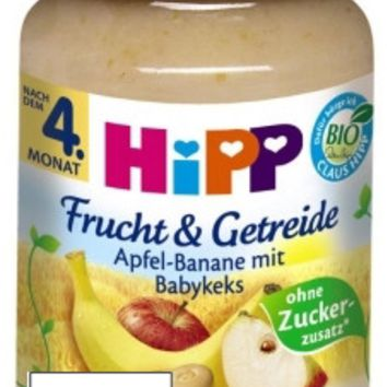 Hipp Fruit & Cereal, Apple and Banana with Baby Biscuit, 6.70 oz in jar