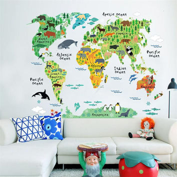 95*73cm World map green warm color/Animal Characters wall sticker / for kids room useful nursery