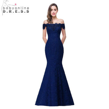 Elegant Crystal Beaded Red Royal Blue Lace Mermaid Long Evening Dress