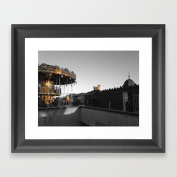 Paris Eiffel tower carousel black and white with color GOLD Framed Art Print by Mr Splash