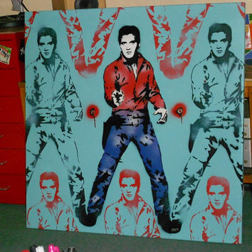 elvis presley stencil art painting,spraypaints, andy warhol,pop art,custom,hand made,cowboy,gift,icon,music,rock & roll,large canvas,urban