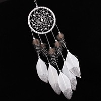 Handmade Silver Bead Dream Catcher Wind Chime/Car Deco