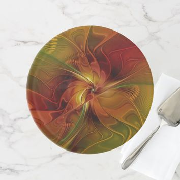 Abstract Red Orange Brown Green Fractal Art Flower Cake Stand