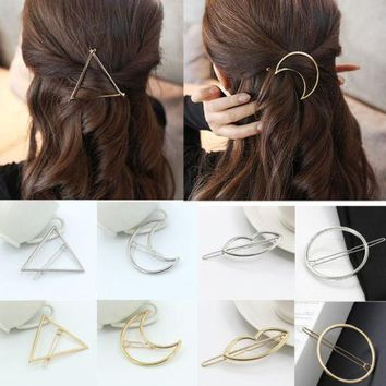 Gold/Silver Plated Metal Triangle Circle Moon Hair Accessories