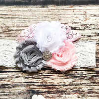 Gray, White, and Pink Rhinestone Lace Headband - Baby Girl Headband - Headbands for Babies - Headbands for baby - Baby Girl Bows - Baby Girl