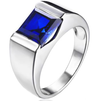 Men's Square 3.30 ct Blue Sapphire Ring