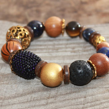 Mixed bead bracelet , Beaded gemstone bracelet , Boho chic , Bohemian bracelet Nature bracelet Rustic bracelet Everyday Starry night