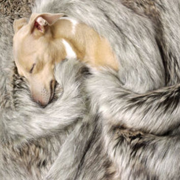 Faux Fur Blanket In Silver Fox