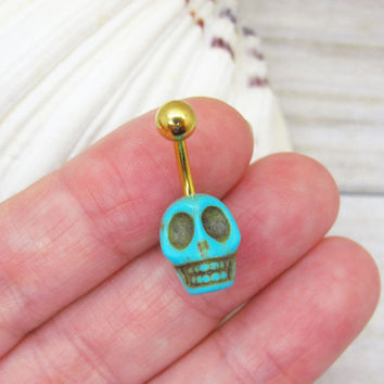 Turquoise skull belly button ring, skull belly button jewelry, skull navel jewelry, belly button ring jewelry,unique gift