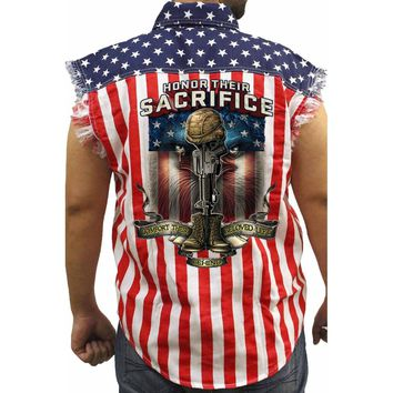 Men's USA Flag Sleeveless Denim Shirt Honor Their Sacrifice Biker