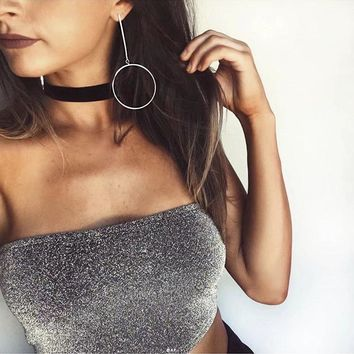 sexy party tube top off shoulder crop top shinning silver strapless summer women bandeau top backless 1752 15