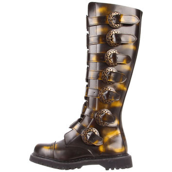 Steam 30 Bronze Leather Shin Guard Straps Goth Punk Boots 4-14