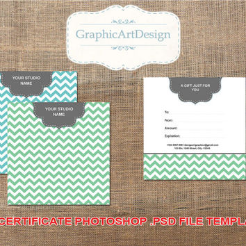 Photography Gift Certificate Phostoshop PSD Template Certificate Card Template for Photographers - Chevron Fully Layered - INSTANT DOWNLOAD