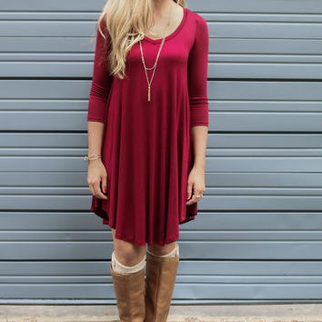 Never Let Go Burgundy V-Neck Quarter Sleeve Tunic Dress