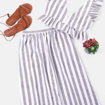 Vest long skirt striped print sexy dress two pieces