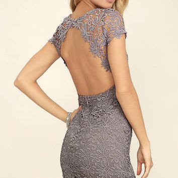 Hidden Talent Backless Grey Lace Dress