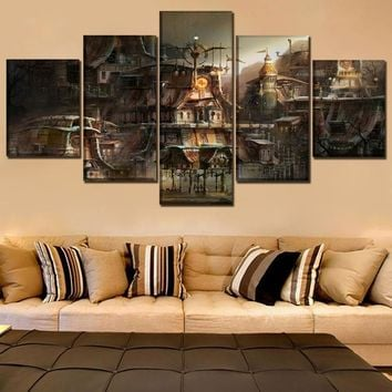 Canvas Print Painting Home Decorative Modular Framework5 Panel Building City Sci Fi Steampunk Poster Modern Wall Art Picture