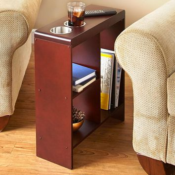 Slim Space Saver End Table Wooden Narrow Drink Holders Shelving Brown or Black