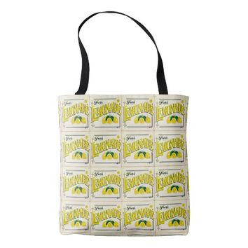 Vintage fresh lemonade sign tote