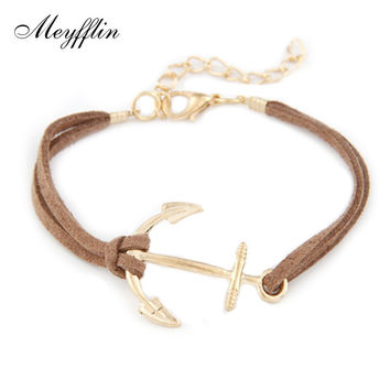 Anchor Bracelets for Women Men Jewelry Bijoux 2017 Fashion Rope 8 Leather Charm Bracelets & Bangles Vintage Wrap Pulsera Mujer