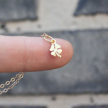 Clover Necklace  Gold Four Leaf Clover Pendant  by sevgicharms