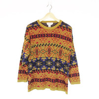 Vintage Southwestern Sweater -- Aztec Inspired -- Geometric Knit 90s Sweater -- Slouchy Pullover -- Abstract Graphic Sweater -- Womens M