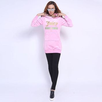 Juicy Couture Fw2017 Velour Jacket 2pcs Studded Exquisite Juicy Logo Women Hoody Cherry - Ready Stock