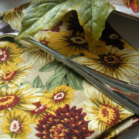 Cloth Napkins--Set of 2 Fall Floral Pattern