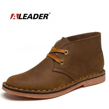 ALEADER New Brand Men Classic Tooling Boots Casual Autumn Desert Ankle Boots For Men Leather Fashion Designer Shoes Cowboy Boots