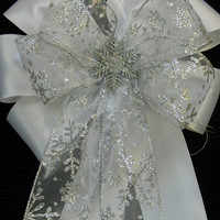 White Satin and Sliver Snowflake Decorative Christmas/winter wedding bow