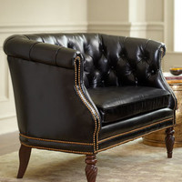 """Gables"" Tufted-Leather Settee - Horchow"