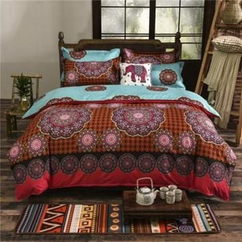 Bohemian style Floral Printing Twin/Queen/King size boho bedding set 4pcs duvet cover set bed linen