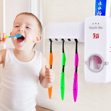 Hands Free Toothpaste Dispenser Automatic Toothpaste Squeezer and Toothbrush Holder Set for 5 Brushes