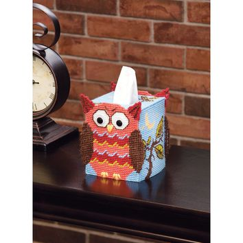 Owl (7 Count) Mary Maxim Plastic Canvas Tissue Box Kit 5""