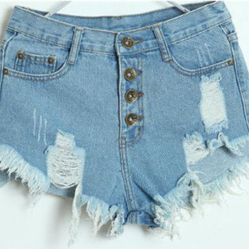 Light Blue Denim Shredded Shorts