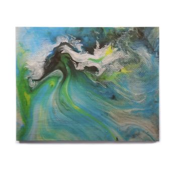 "Carol Schiff ""Turquoise And Green Abstract"" Blue Teal Birchwood Wall Art"