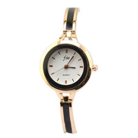 Gold Silver Round Fashion Quartz Bracelet Dress Wrist Watch