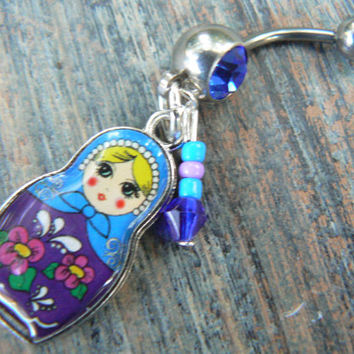 Russian nesting doll belly ring CHOOSE ONE in hipster beach boho gypsy hippie belly dancer fantasy beach hipster and fantasy style